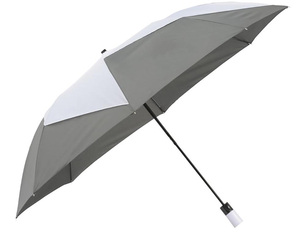 Зонт двухсекционный Pinwheel с автоматическим открытием, 23, серый/белый