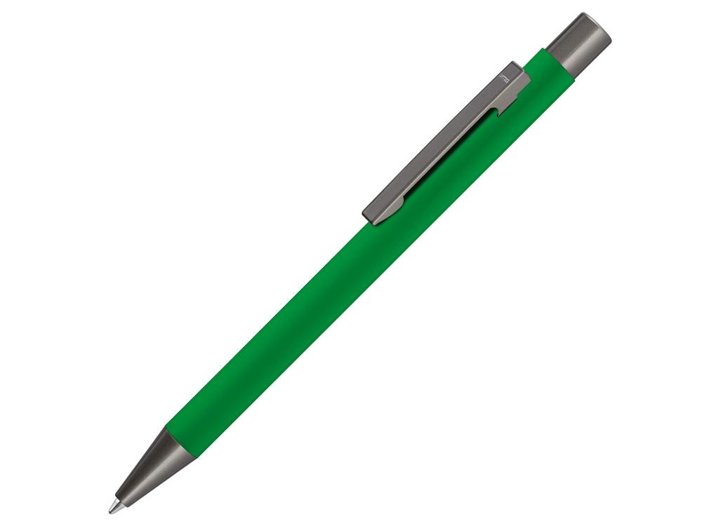 Ручка шариковая UMA STRAIGHT GUM soft-touch, с зеркальной гравировкой, зеленый
