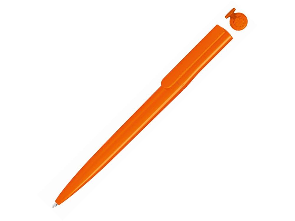 Ручка шариковая пластиковая RECYCLED PET PEN switch, синий, 1 мм, оранжевый