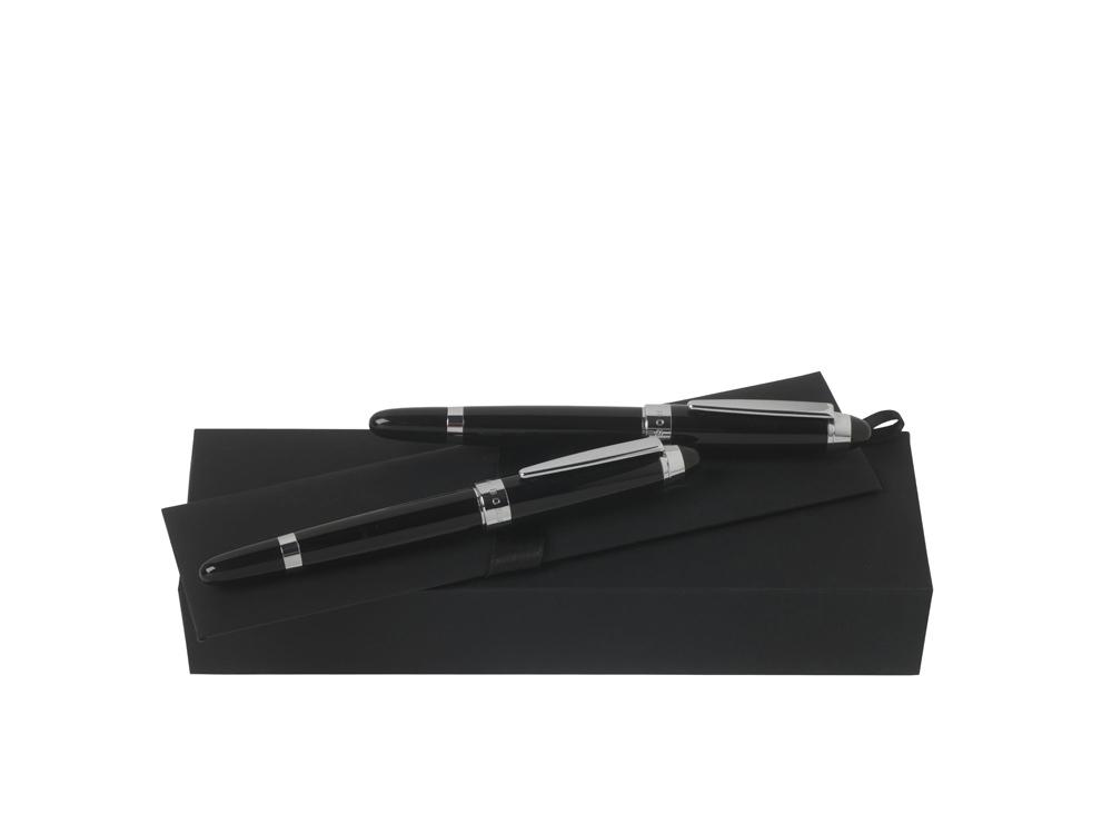Подарочный набор: ручка перьевая, ручка роллер. Hugo Boss, черный/серебристый