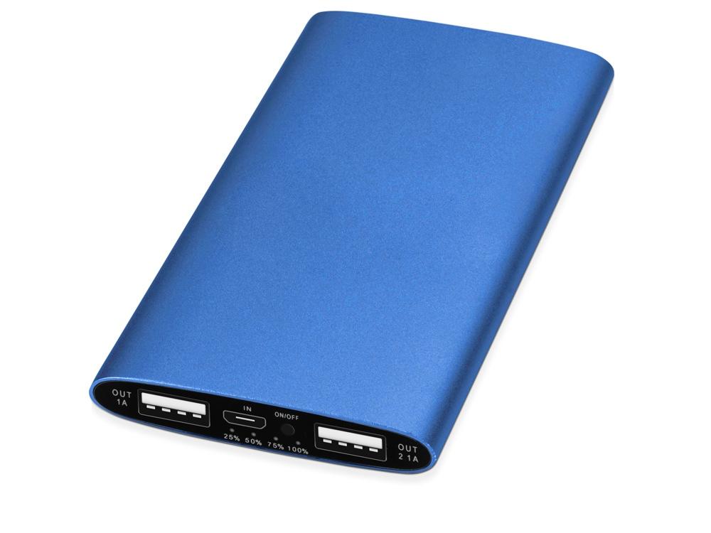 Портативное зарядное устройство Мун с 2-мя USB-портами, 4400 mAh, синий