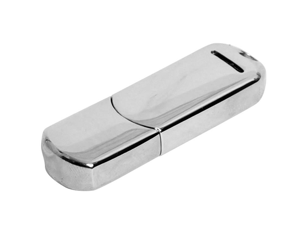 Флешка каплевидной формы, современный дизайн, 64 Гб, серебристый