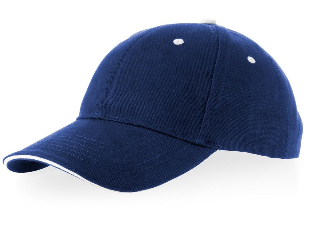 Бейсболка Brent типа сэндвич, 6 панелей, темно-синий/белый