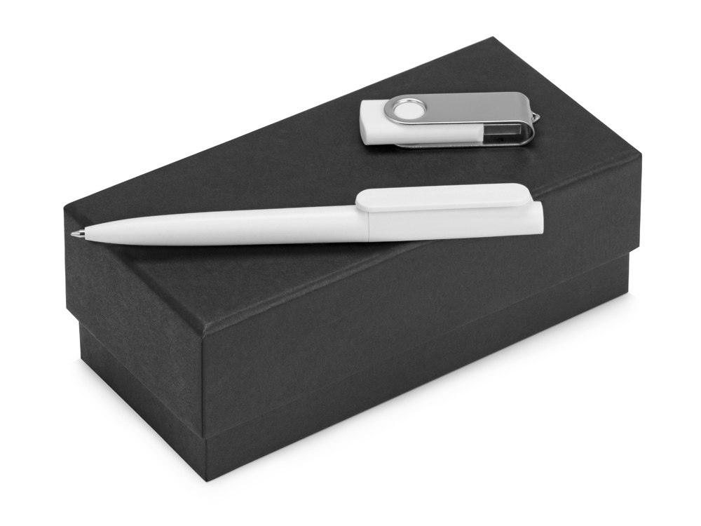 Подарочный набор Qumbo с ручкой и флешкой, белый