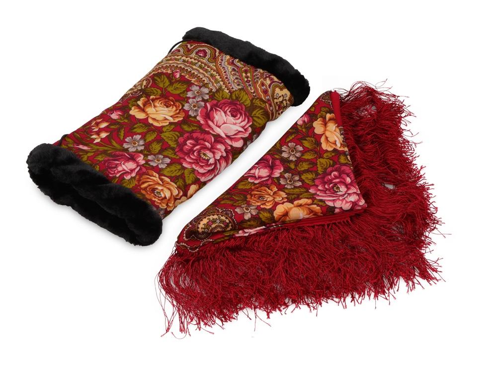 Подарочный набор: Павлопосадский платок, муфта, красный/разноцветный