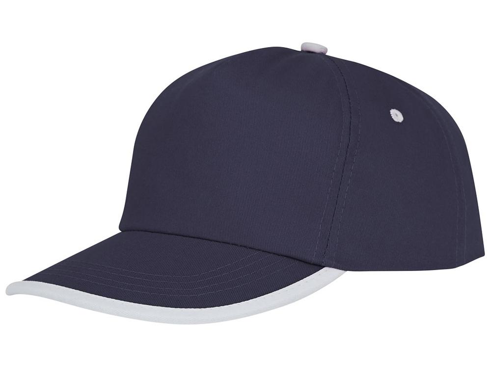 Пятипанельная кепка Nestor с окантовкой, темно-синий/белый