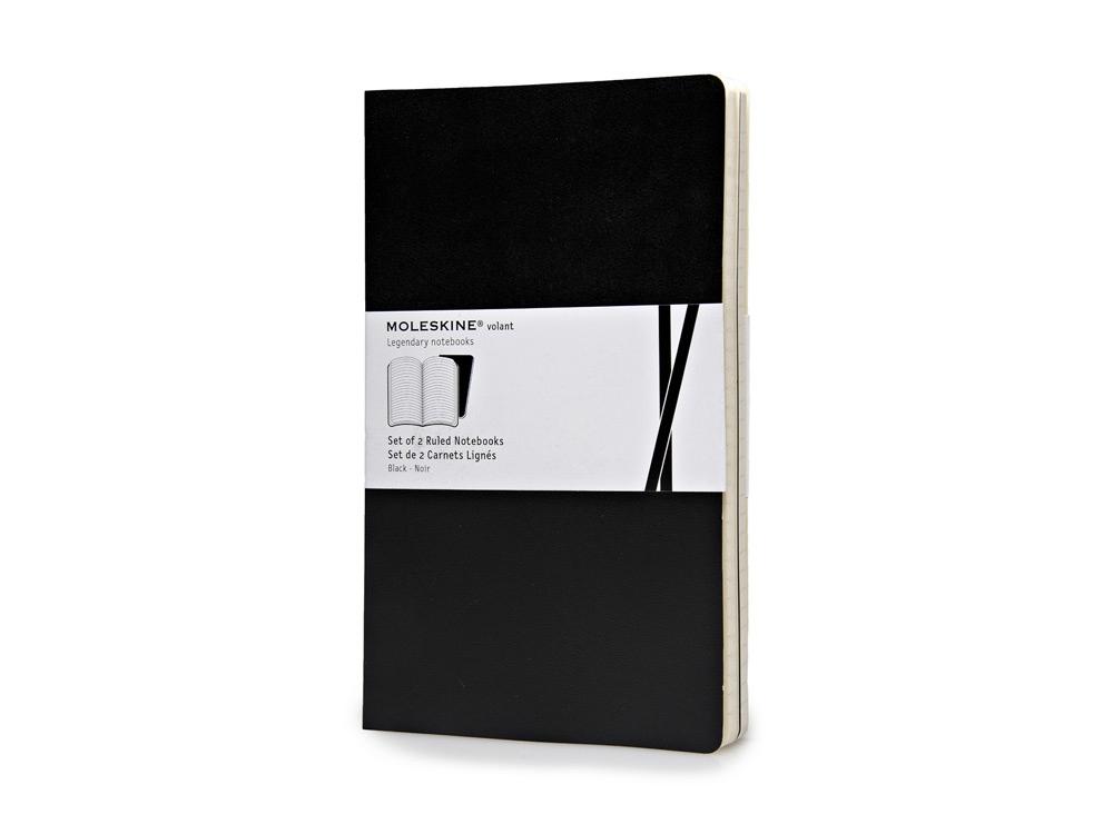 Записная книжка Moleskine Volant (в линейку, 2 шт.), Large (13х21см), черный