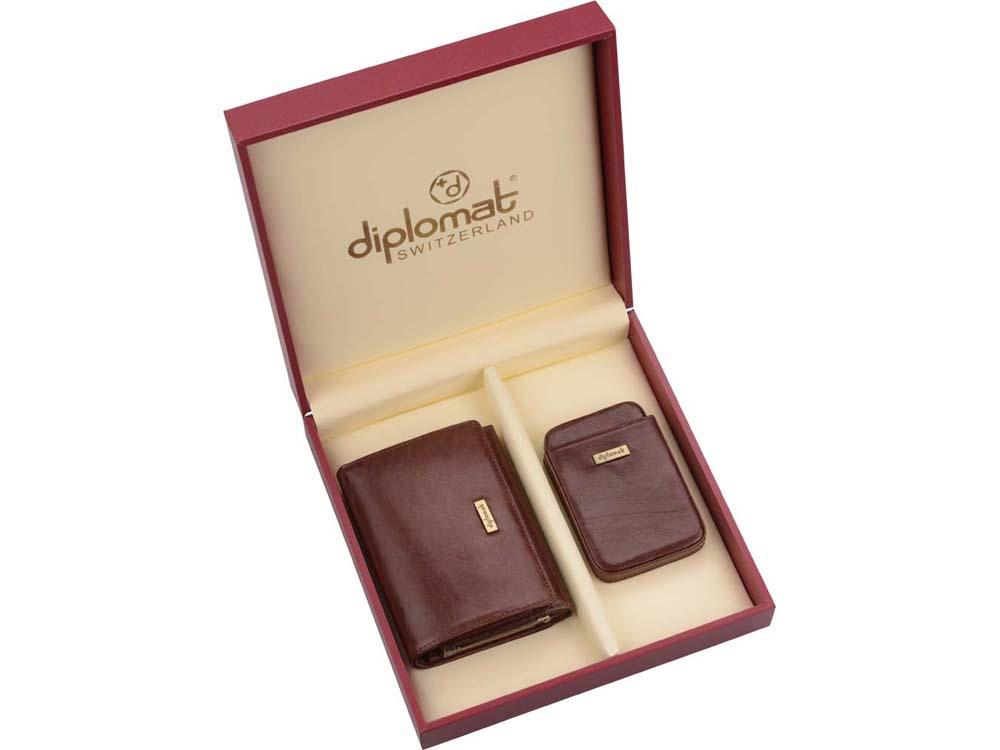 Набор Diplomat: дамское портмоне, визитница, коричневый