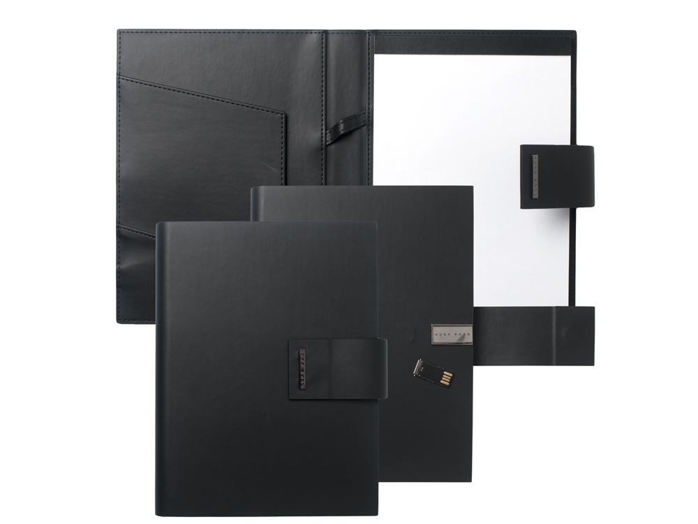 Папка А5 Loop Black с USB-флешкой на 16 Гб. Hugo Boss, черный