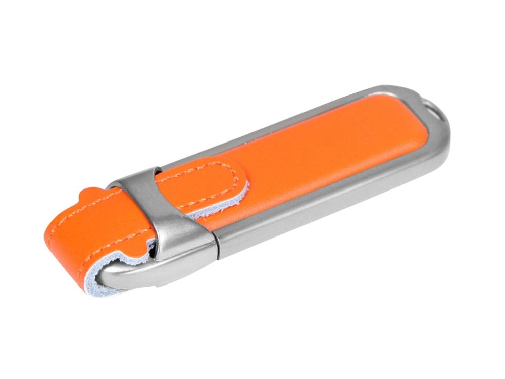Флешка с массивным классическим корпусом, 64 Гб, оранжевый/серебристый