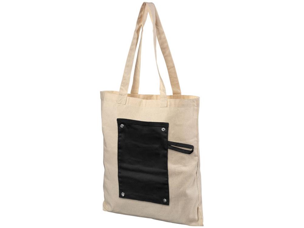 Хлопковая рулонная сумка-тоут на кнопках, черный