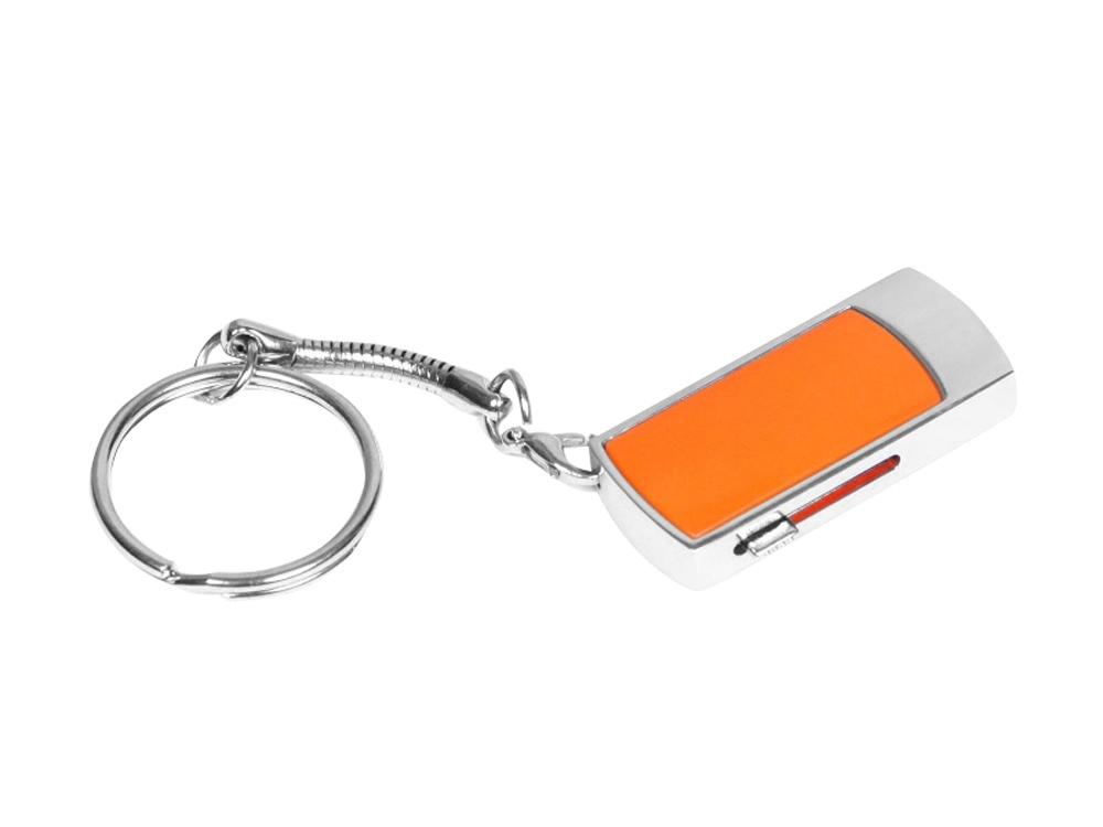 Флешка прямоугольной формы, выдвижной механизм с мини чипом, 64 Гб, оранжевый/серебристый