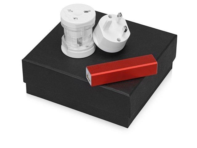 Подарочный набор Charge с адаптером и зарядным устройством, красный