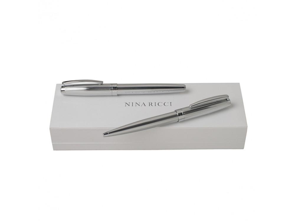Подарочный набор Ramage: ручка роллер, ручка шариковая. Nina Ricci, серебристый