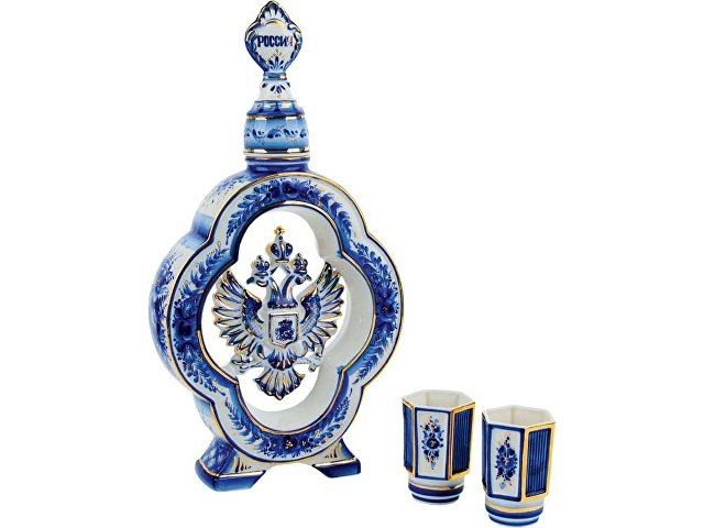 Набор «Герб России»: штоф для водки с двумя стопками (арт. 82736)