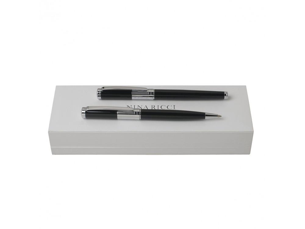 Подарочный набор Eclat: ручка шариковая, ручка роллер. Nina Ricci, черный/серебристый