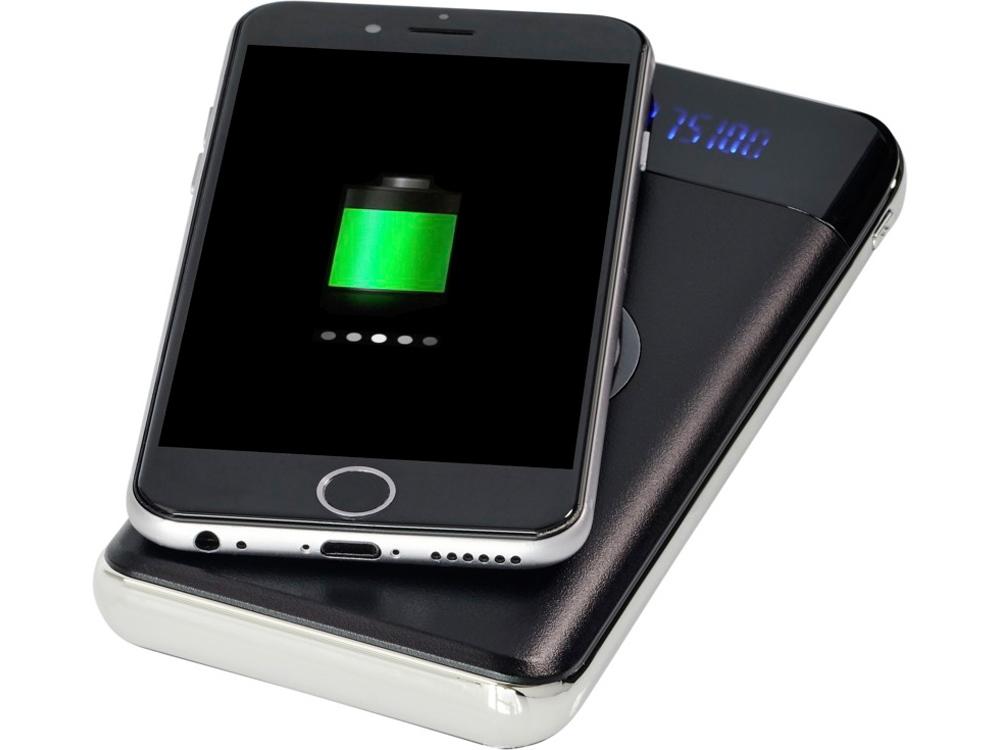 Беспроводной внешний аккумулятор на 10000 мА/ч со светодиодным дисплеем Constant, черный
