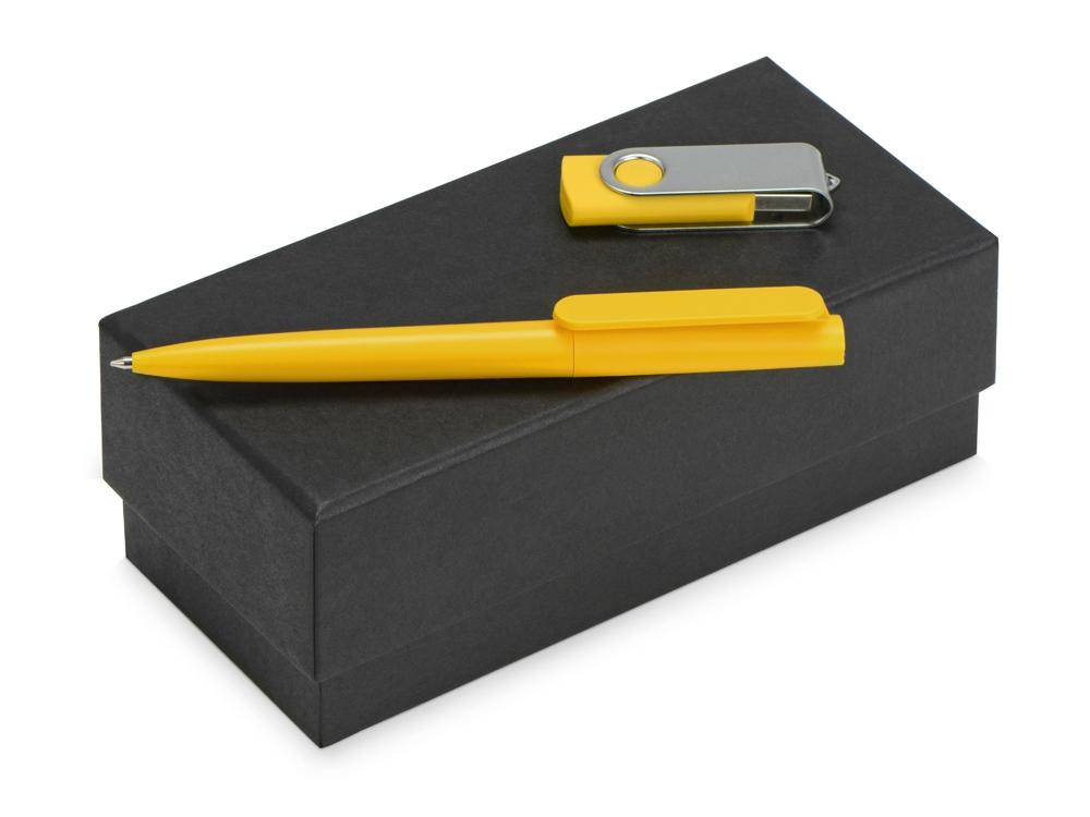 Подарочный набор Qumbo с ручкой и флешкой, желтый