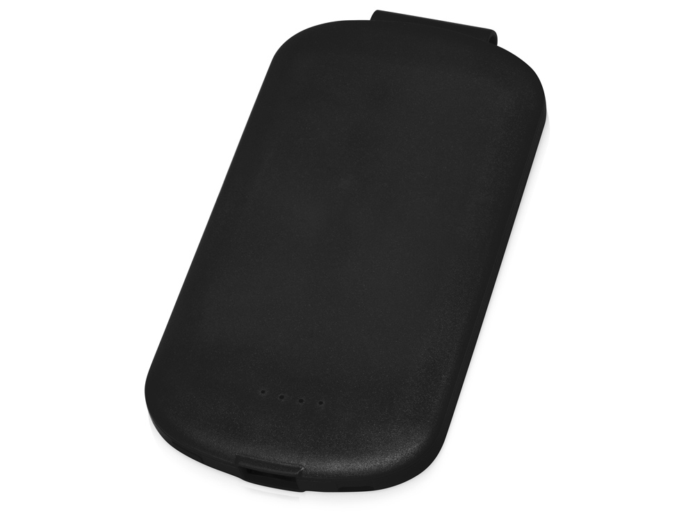 Портативное зарядное устройство Pin на 4000 mAh с большой площадью нанесения и клипом для крепления к одежде или сумке, черный