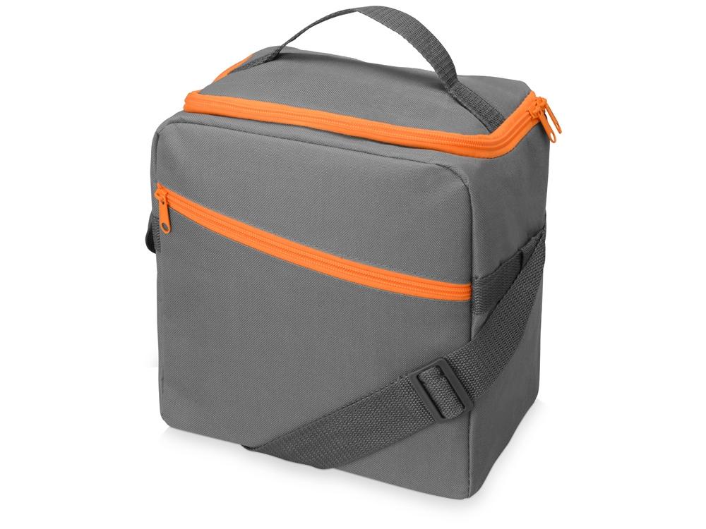 Изотермическая сумка-холодильник Classic c контрастной молнией, серый/оранжевый
