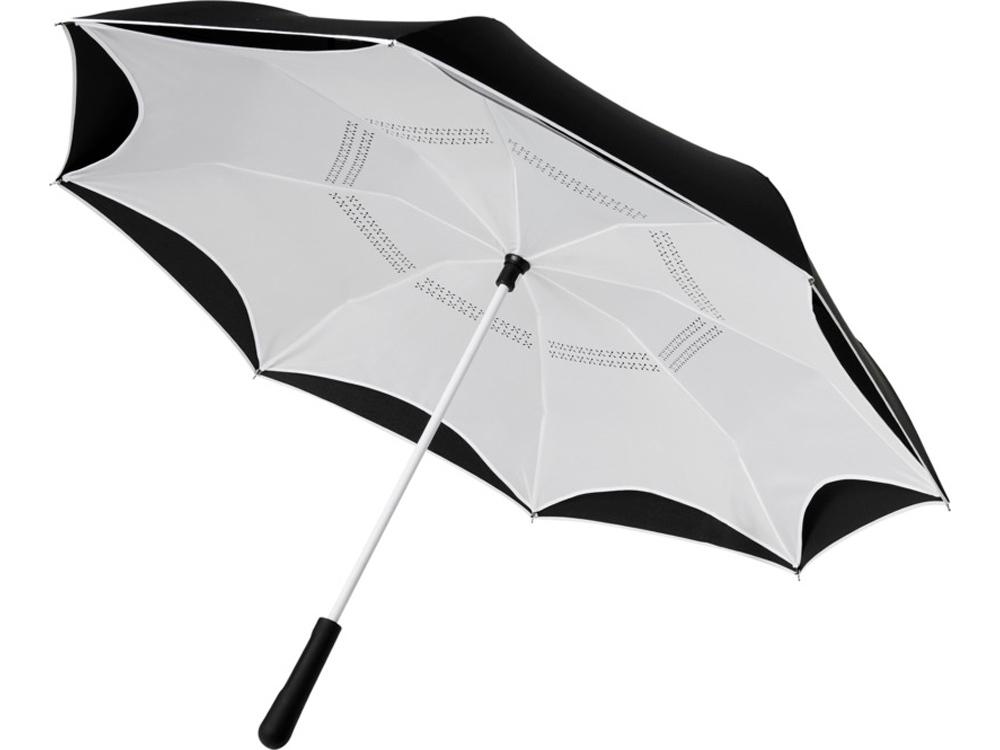 Прямой зонтик Yoon 23 с инверсной раскраской, белый