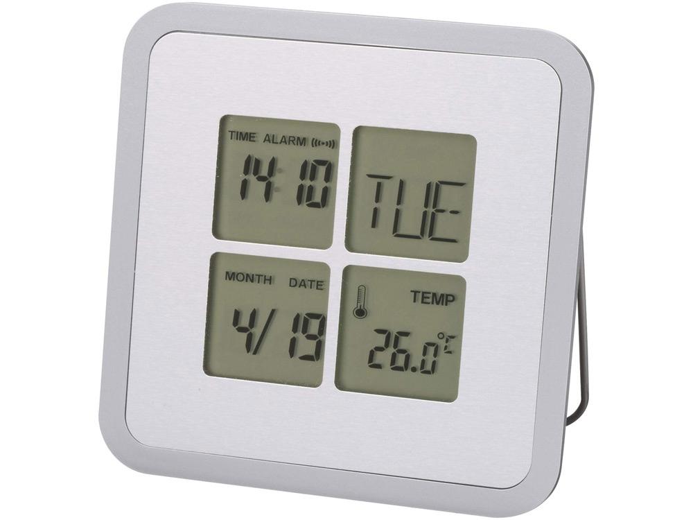Погодная станция-часы, будильник, календарь Livorno, серебристый