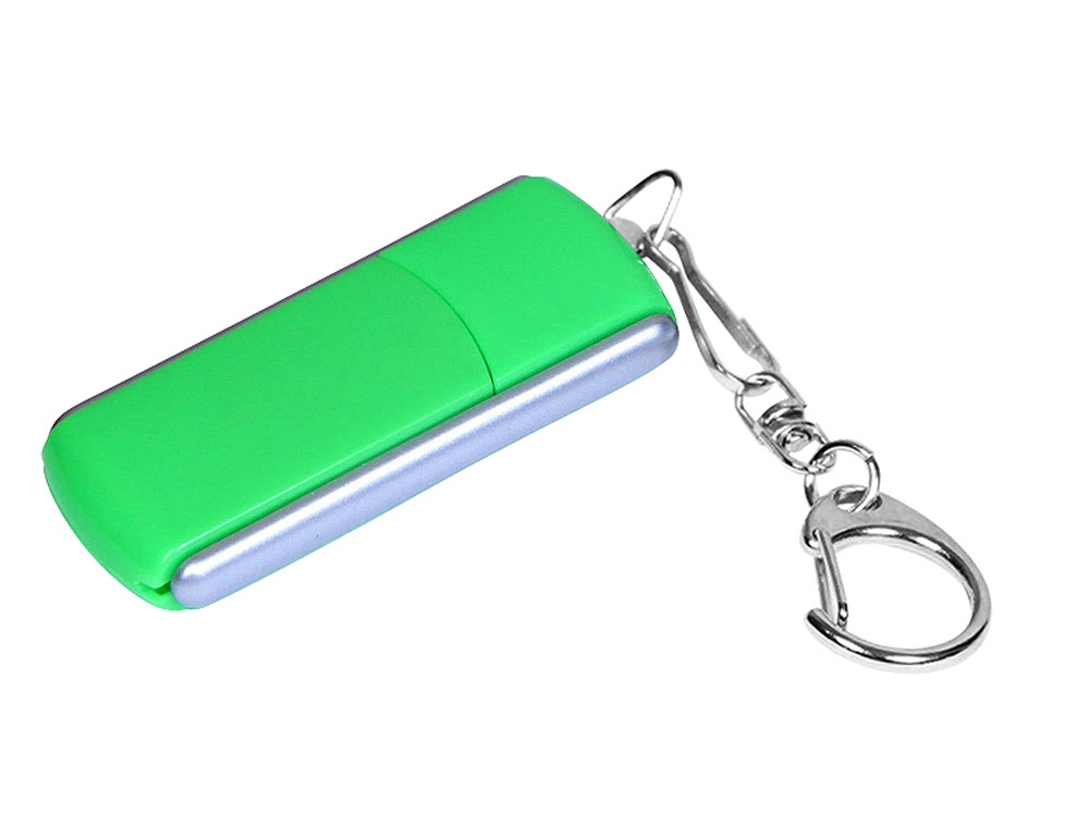 Флешка промо прямоугольной формы, выдвижной механизм, 16 Гб, зеленый