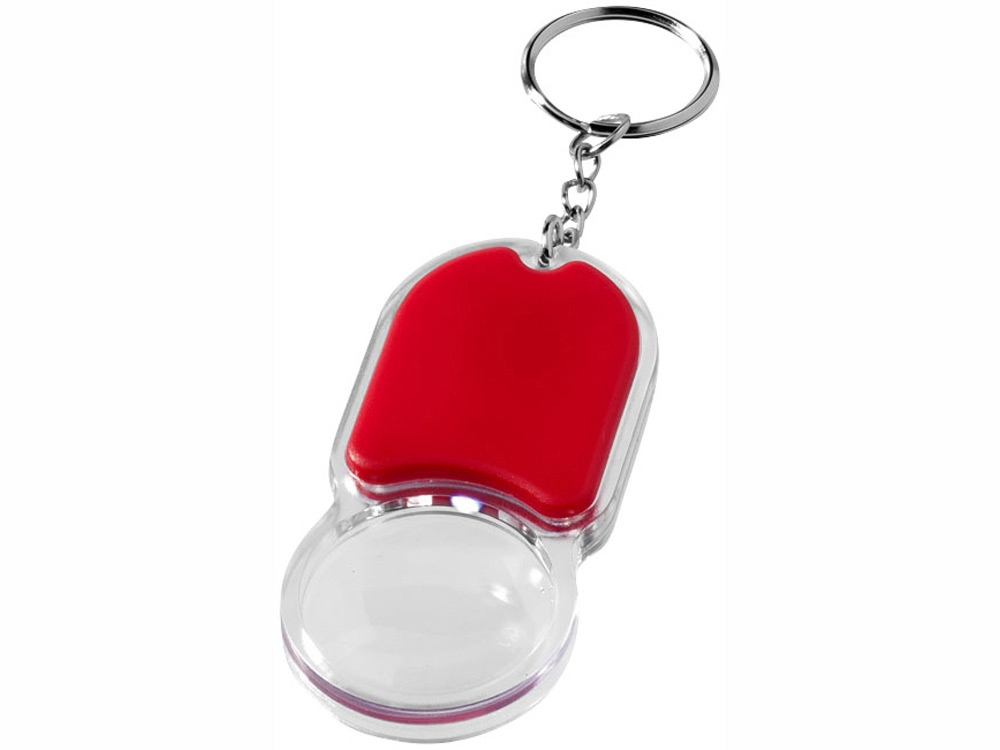 Брелок Zoomy с увеличительным стеклом и фонариком, красный