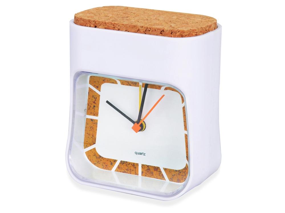 Часы настольные Cork, белый/коричневый