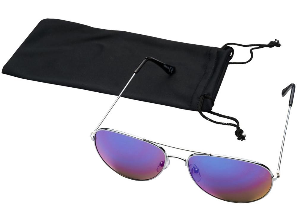 Солнечные очки Aviator с цветными зеркальными линзами, фуксия