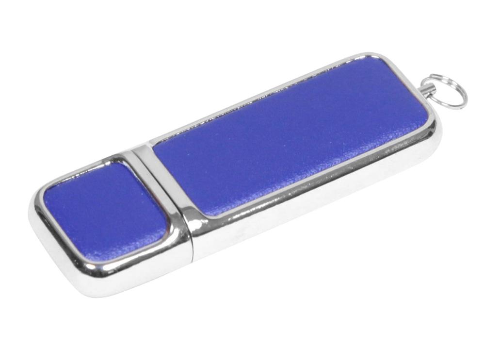 Флешка компактной формы, 64 Гб, синий/серебристый
