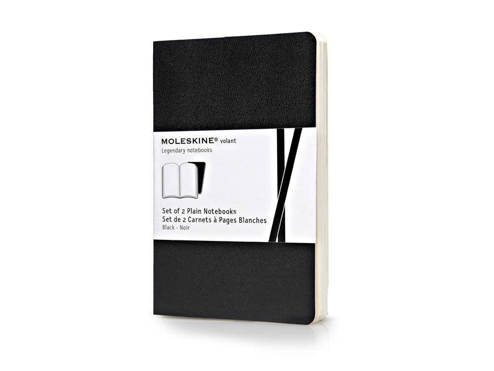 Записная книжка Moleskine Volant (нелинованная, 2 шт.), Pocket (9х14см), черный