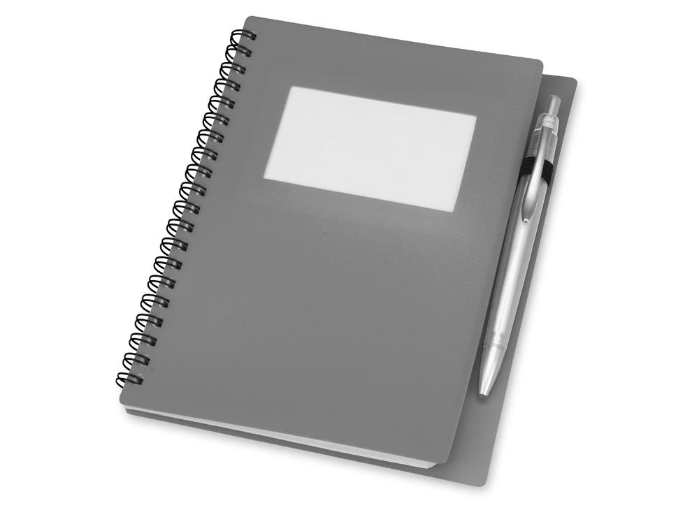 Блокнот А5 Контакт с ручкой, серый