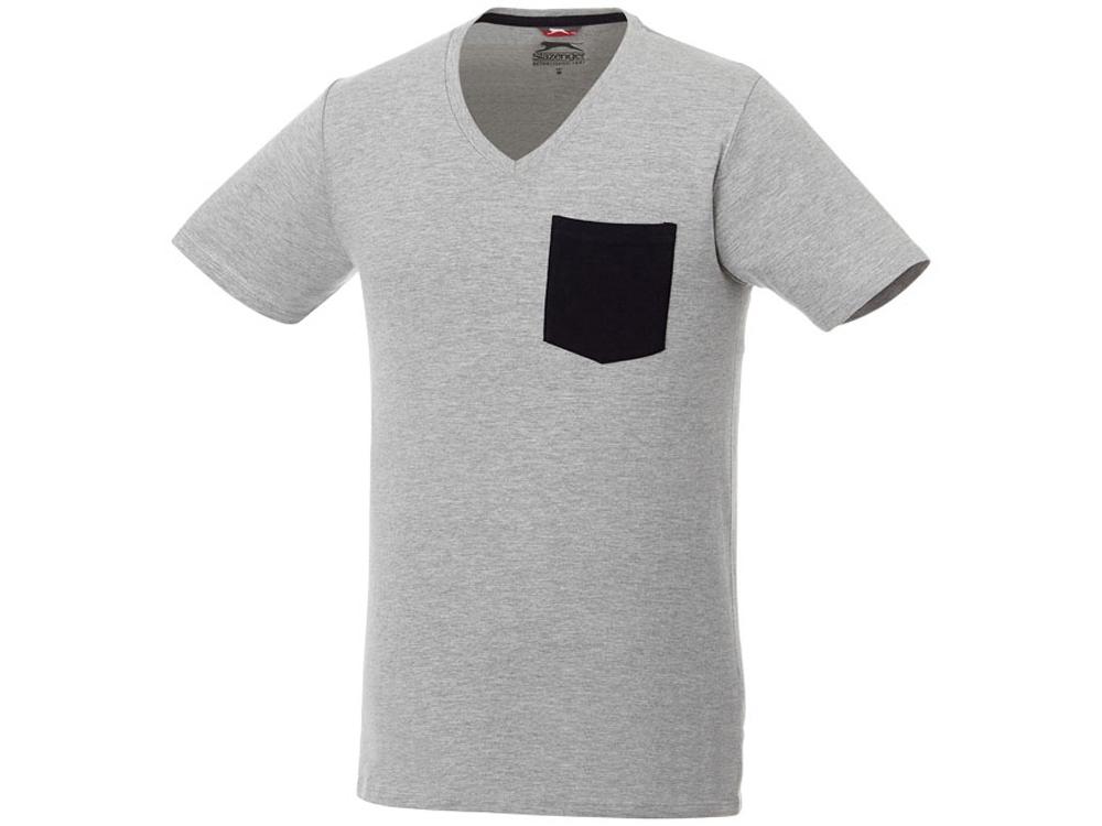 Мужская футболка Gully с коротким рукавом и кармашком, серый/темно-синий