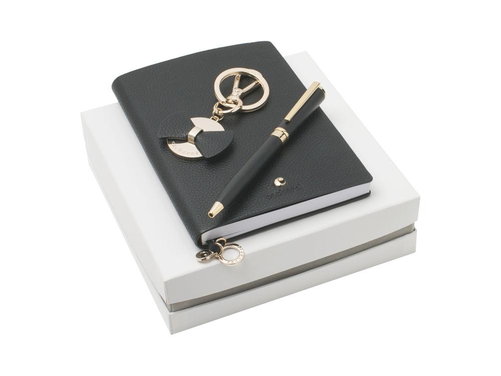 Подарочный набор: блокнот А7, брелок, шариковая ручка. Cacharel