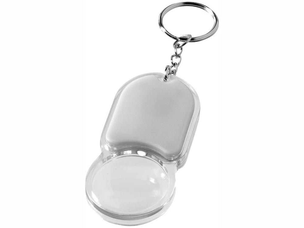 Брелок Zoomy с увеличительным стеклом и фонариком, серебристый