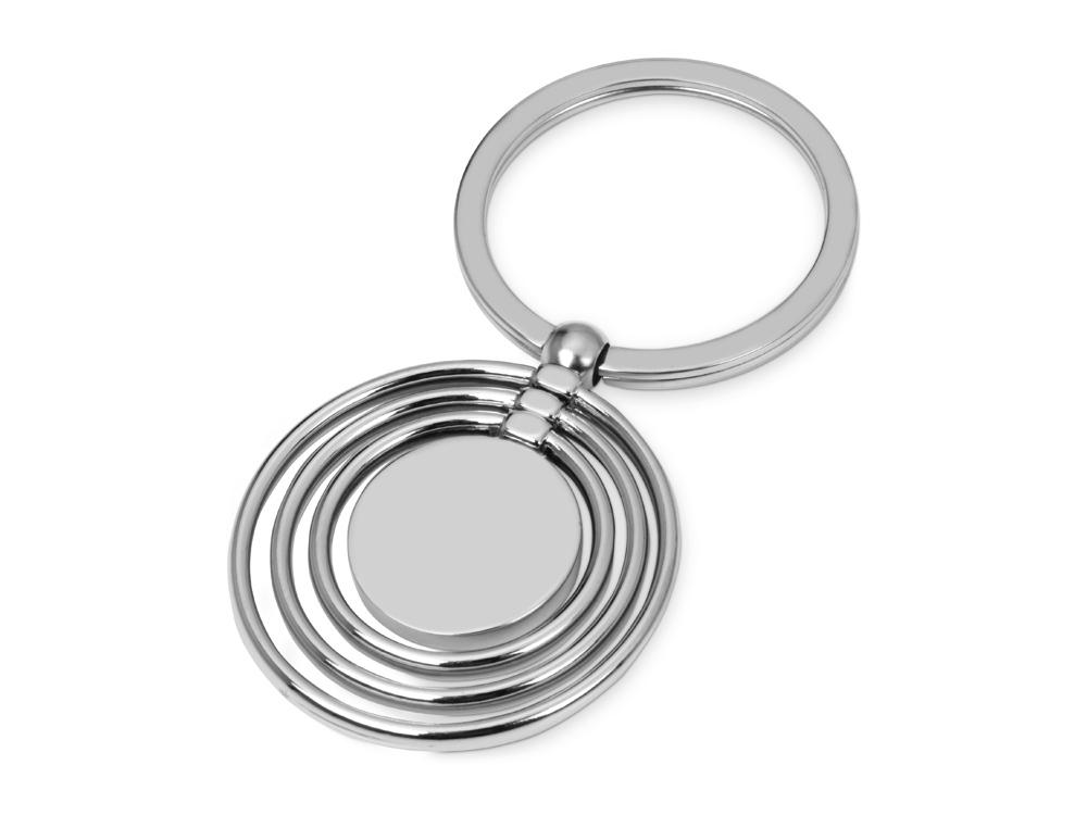 Брелок с 3 кольцами и диском, вращающимися вокруг одной оси, серебристый
