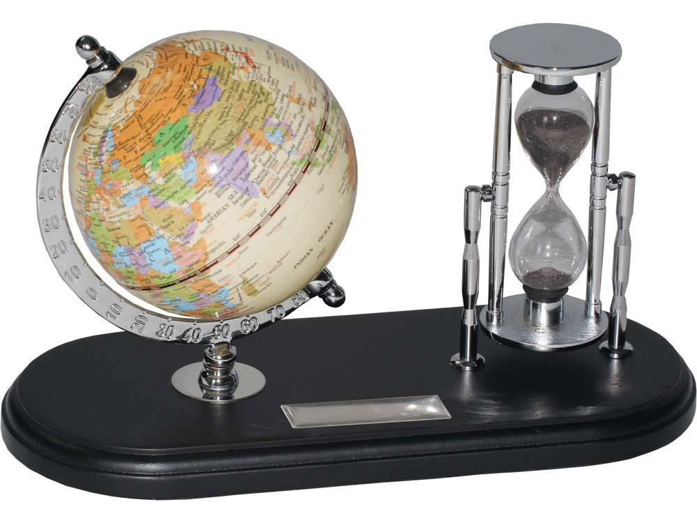 Набор с глобусом на черной подставке Время и мы, серебристый/черный