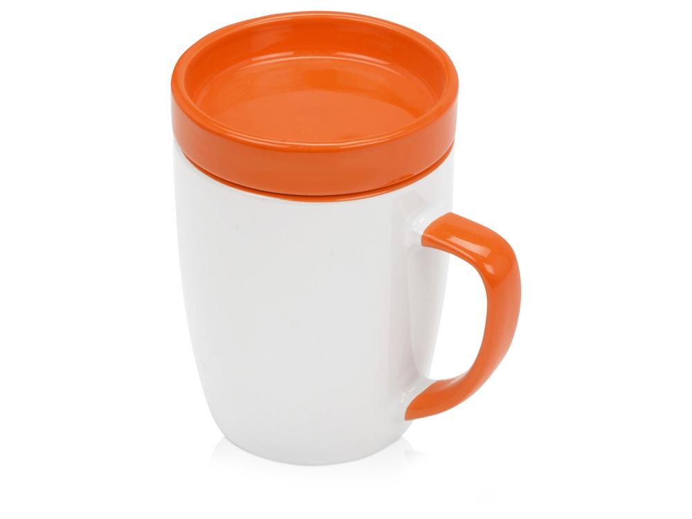 Кружка с универсальной подставкой Мак-Кинни , белый/оранжевый