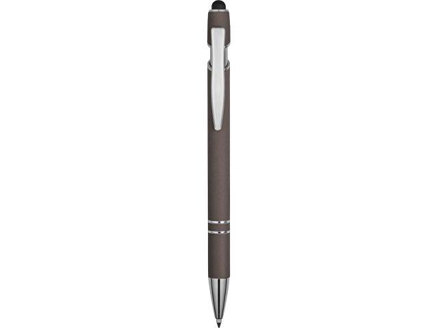 Ручка металлическая soft-touch шариковая со стилусом «Sway», серый/серебристый