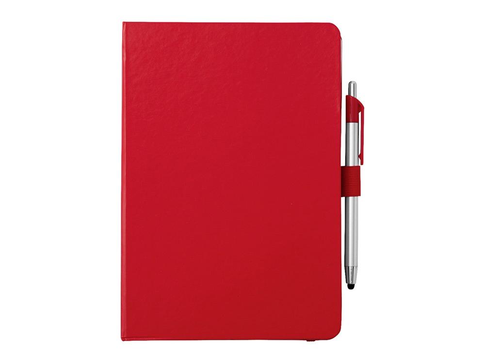 Блокнот A5 Crown с шариковой ручкой-стилусом, красный/серебристый