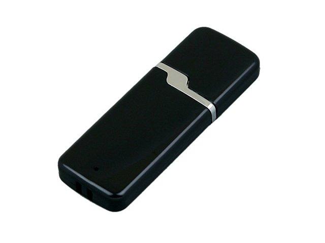 Флешка промо прямоугольной формы c оригинальным колпачком, 64 Гб, черный