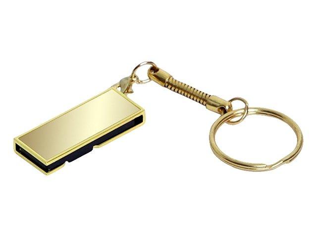 Флешка с мини чипом, поворотный механизм, зеркальное покрытие, 32 Гб, золотистый