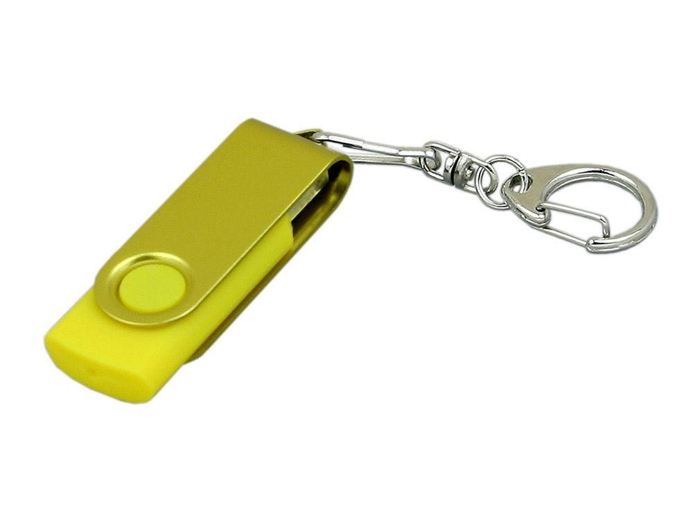 Флешка промо поворотный механизм, с однотонным металлическим клипом, 32 Гб, желтый