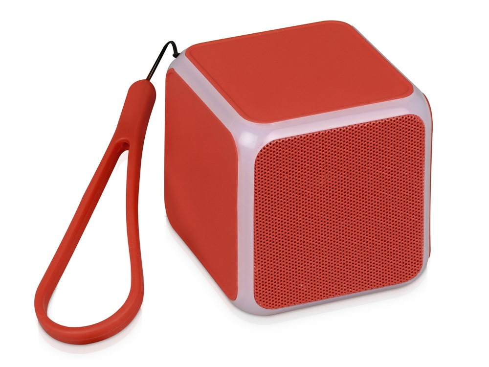 Портативная колонка Cube с подсветкой, красный