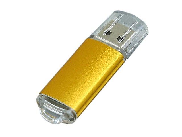 Флешка промо прямоугольной формы  c прозрачным колпачком, 64 Гб, золотистый