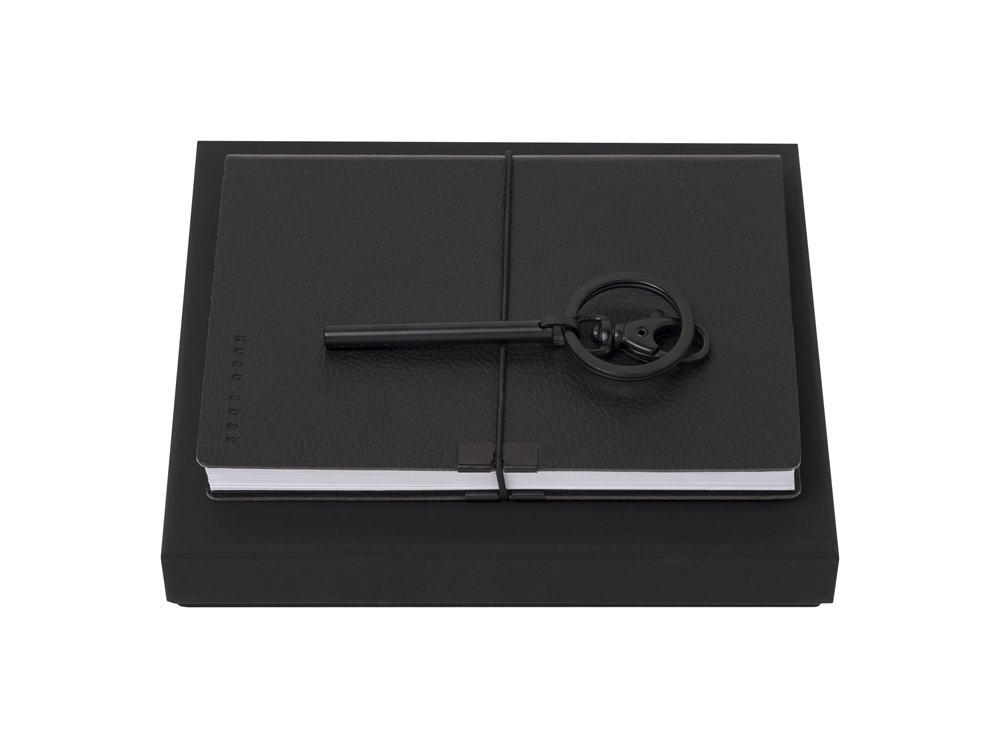 Подарочный набор: брелок, блокнот А6. Hugo Boss, черный