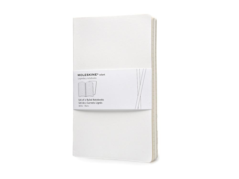 Записная книжка Moleskine Volant (в линейку, 2 шт.), Large (13х21см), белый
