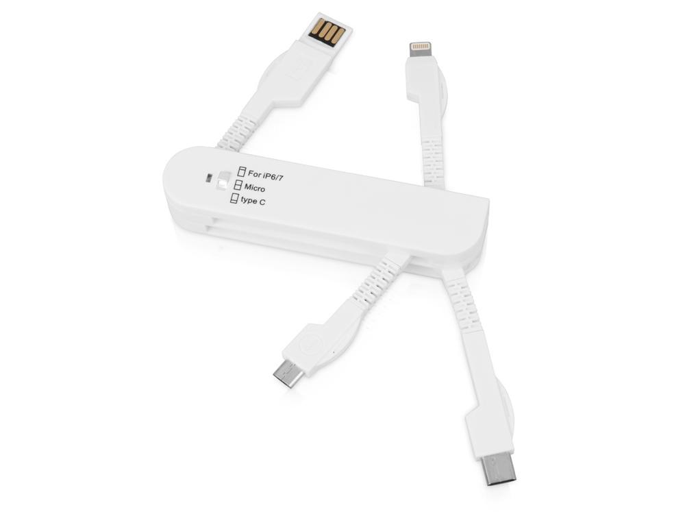 Универсальный переходник Smarty (Micro USB / Lightning / Type C), белый