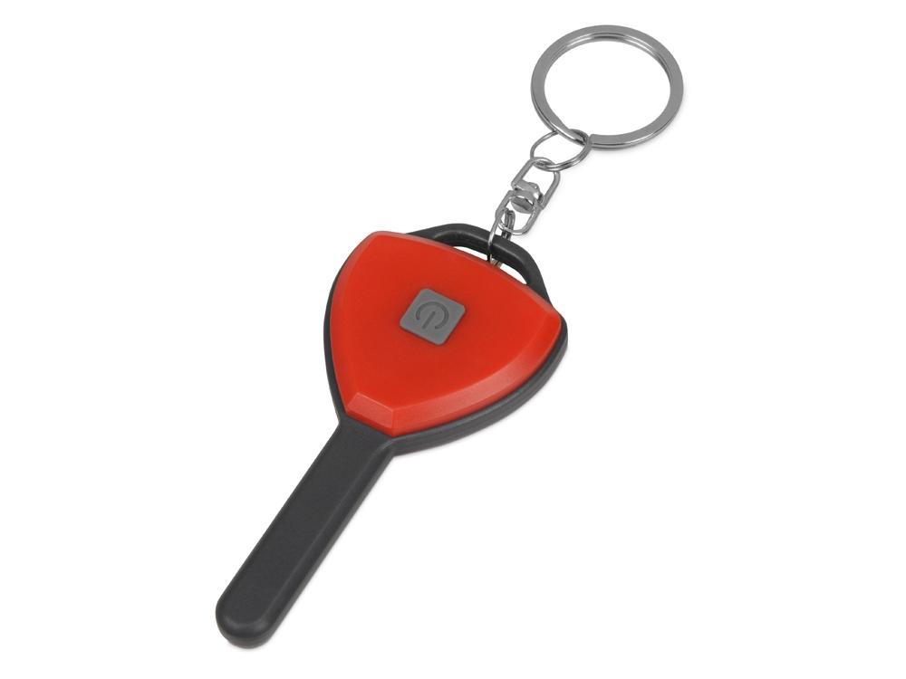 Брелок-фонарик COB Switch, красный/серый